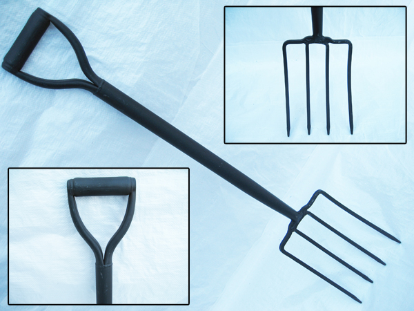 Gardening Fork With Steel Shaft - ( 4 ) Four Prong Digging Tool Soil Grass