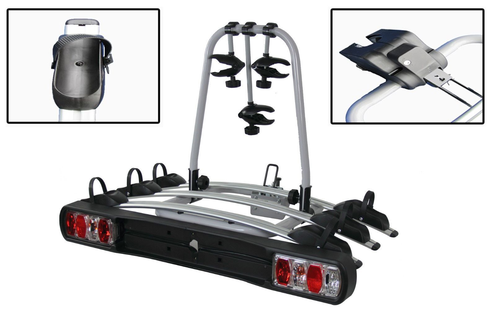 7f27ff91e47 Tow Bar Mounted 3 Bike Cycle Carrier - Bicycle Rack Carry Lights Cycling  Secure Transport