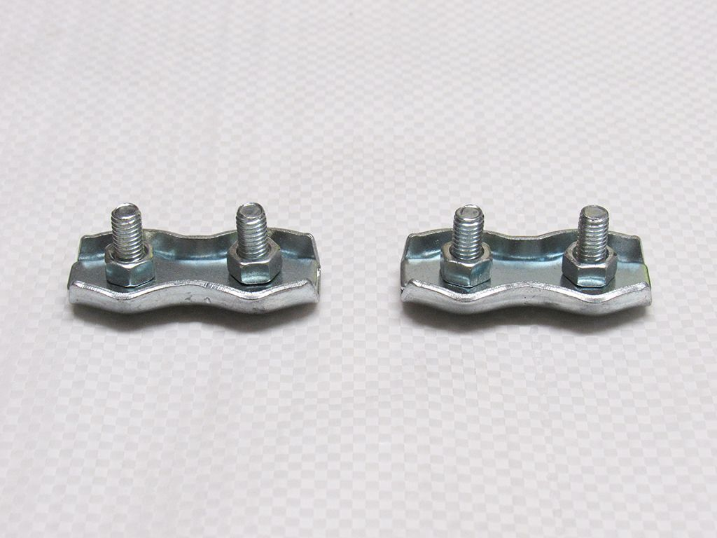 X2 6MM Zinc Plated Duplex Wire Rope Grips - Clamp Loop Eye Clip